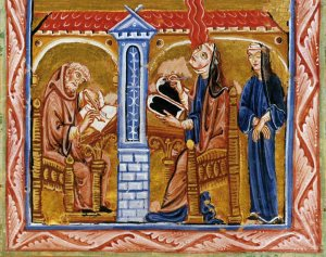 Hildegard receiving music from the heavens